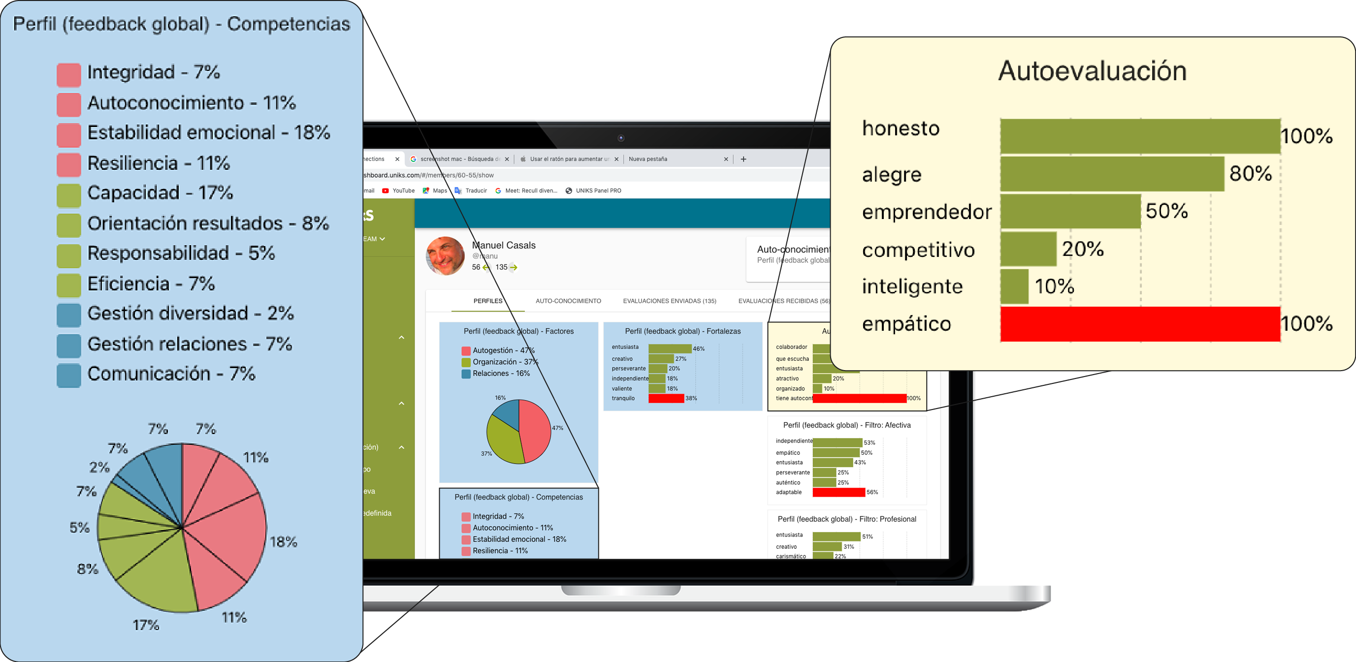 Uniks, HR platform, profile of strengths and competencies of the group and people